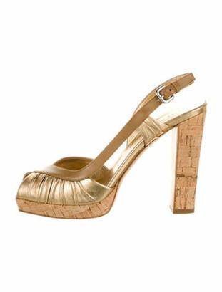 Prada Leather Slingback Sandals Gold