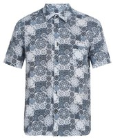120% Lino Floral-print Short-sleeved Linen Shirt - Mens - Blue Multi