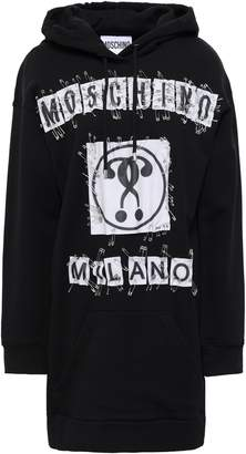 Moschino Embellished Printed French Cotton-terry Hooded Mini Dress