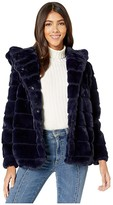 Apparis Goldie 3 Hooded Faux Fur Coat (Navy Blue) Women's Jacket