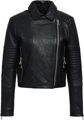 J Brand Cropped Textured-leather Biker Jacket