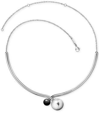 Calvin Klein Bubbly Shiny Stainless Steel Black Onyx Choker Necklace