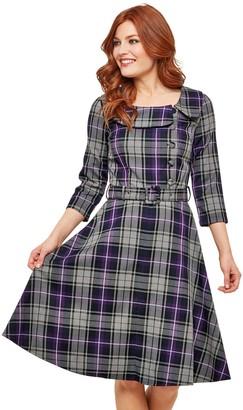 Joe Browns Spirited Vintage Style Dress - Grey/Purple