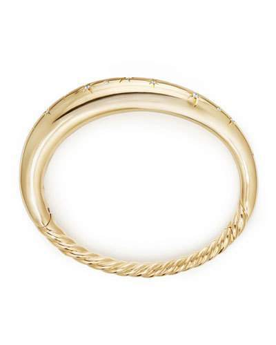 David Yurman 9.5mm Pure Form Smooth 18K Gold Bracelet with Diamonds, Size M