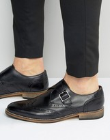 Asos Brogue Monk Shoes in Black Leather