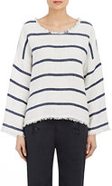 Nili Lotan Women's Striped Boxy Top-WHITE, BLUE, NAVY