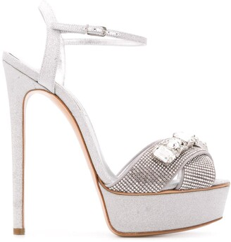 Casadei Crystal-Embellished Heeled Sandals