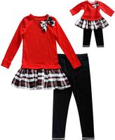Dollie & Me Red & Black Plaid Ruffle-Hem Tunic Set & Doll Outfit - Girls