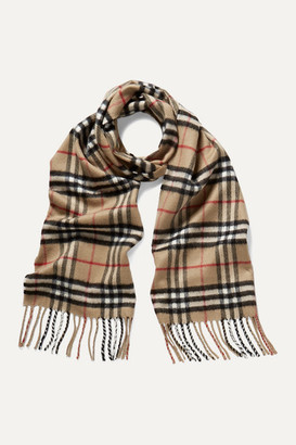 Burberry Fringed Checked Cashmere Scarf - Beige