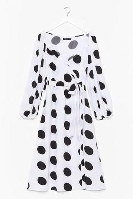 Nasty Gal Womens Plus Size Wrap Polka Dot Midi Dress - White - 16