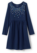 Classic Little Girls Embellished Gathered Waist Dress-Purple