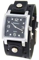 Nemesis #NE240K Men's Square Dial Wide Leather Cuff Band Watch