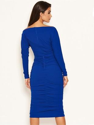 AX Paris Off Shoulder Ruched Dress - Cobalt