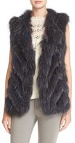 Parker Women's 'Lola' Grooved Genuine Rabbit & Fox Fur Vest
