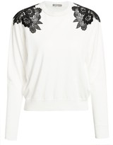 Lela Rose Lace Inset Wool & Silk Knit Sweater