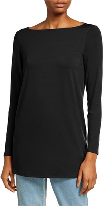 Eileen Fisher Boat-Neck Long-Sleeve Jersey Tunic