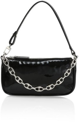 BY FAR Mini Rachel Croc-Embossed Leather Shoulder Bag
