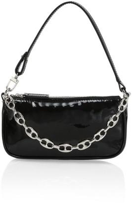 BY FAR Mini Rachel Croc-Embossed Leather Top Handle Bag