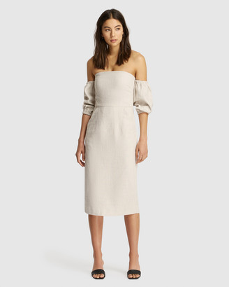 FRIEND of AUDREY - Women's Brown Midi Dresses - Hayley Linen Speckled Dress - Size One Size, 8 at The Iconic