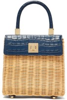 Sparrows Weave - The Classic Wicker And Leather Top-handle Bag - Womens - Navy Multi