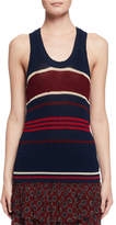 Isabel Marant Dully Striped Knit Tank Sweater, Blue