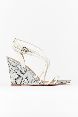 Wallis Grey Faux Snakeskin Wedge Sandal