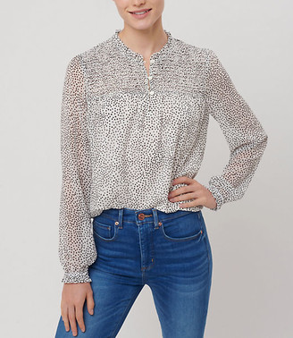 LOFT Dotted Smocked Henley Blouse