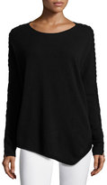 Neiman Marcus Cashmere Asymmetric Braided-Sleeve Sweater, Black