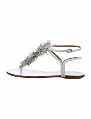 Aquazzura Leather Round-Toe Slingback Flats White