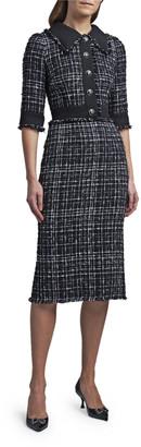 Dolce & Gabbana 3/4-Sleeve Button-Front Midi Dress
