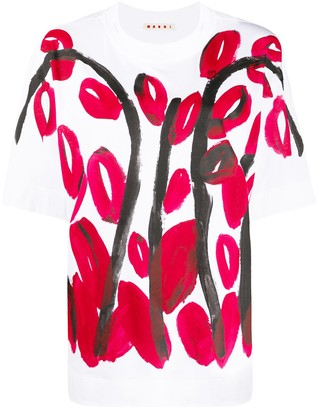 Marni brushstroke tulip print T-shirt