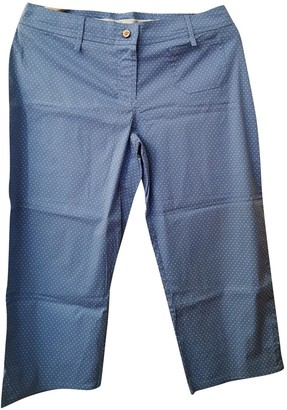 La Perla Turquoise Cotton Trousers for Women