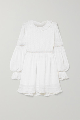 LoveShackFancy Jullian Broderie Anglaise Cotton Mini Dress - White
