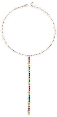 Shay Boho 18K Yellow Gold & Mixed Gemstone Rainbow Stick Y Drop Lariat Necklace
