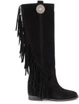 Via Roma 15 Boot In Black Suede With Side Fringe