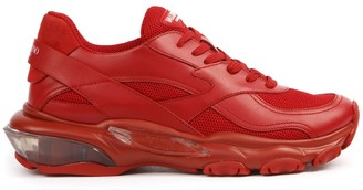 Valentino Red Leather And Mesh Bounce Sneakers
