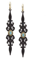 Armenta Black Diamond & Turquoise Double-Dagger Drop Earrings