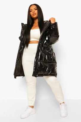 boohoo Plus Faux Fur Hooded High Shine Parka Puffer