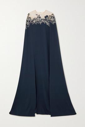 Oscar de la Renta Cape-effect Embellished Stretch-silk And Tulle Gown - Navy