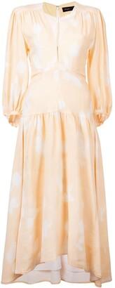 Proenza Schouler Rose Imprint Long Sleeve Dress