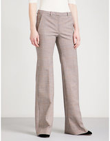 Theory Demitria gingham flared stretch-wool trousers