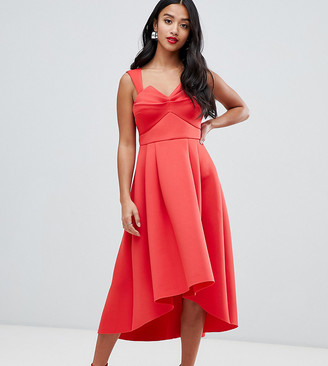 Asos DESIGN Petite Ruched Bodice Midi Prom Dress