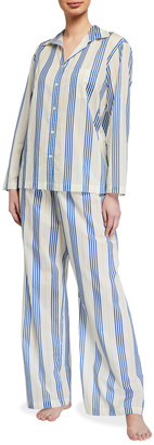 POUR LES FEMMES Double Stripe Cotton Pajama Set