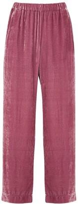Velvet by Graham & Spencer Frida Pink Wide-leg Velvet Trousers
