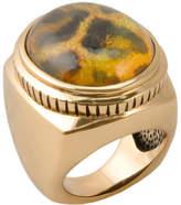 Barse Women's Bronze/Quartz Doublet Leopard Ring SAHAR01BLP06