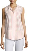 Lafayette 148 New York Jasper Sleeveless Cosmopolitan Striped Blouse, Multi