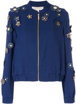Michael Kors flower embellished bomber jacket - women - Polyester - XS