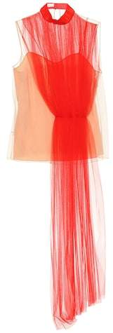 DELPOZO Asymmetric layered tulle top