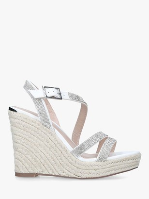 Carvela Summer Embellished Espadrille Wedges, White