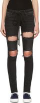 Off-White Black Diagonal Ripped Skinny Jeans